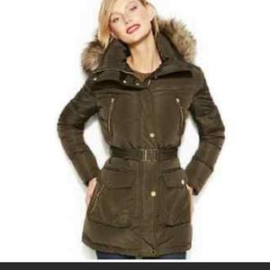 Michael Kors Belted Puffer Jacket in Olive Green